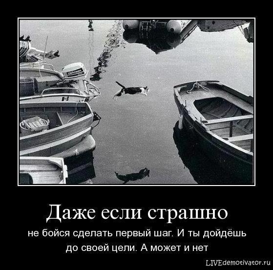 Даже если страшно - не бойся сделать первый шаг. И ты дойдёшь до своей цели. А может и нет